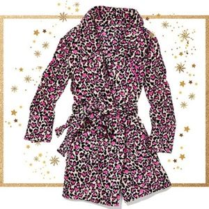 Victoria's Secret Pink Heart Leopard Robe Cheetah